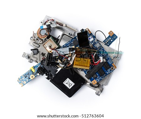 Wreckage of electronic device. Broken, shattered thing. PCB, Li-Ion battery, speaker. Isolated on white background.