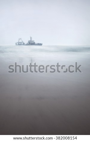 Wreckage of the Zeila on a typical Skeleton Coast day. - stock photo
