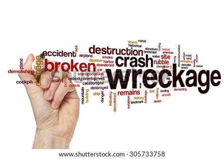 Wreckage word cloud - stock photo