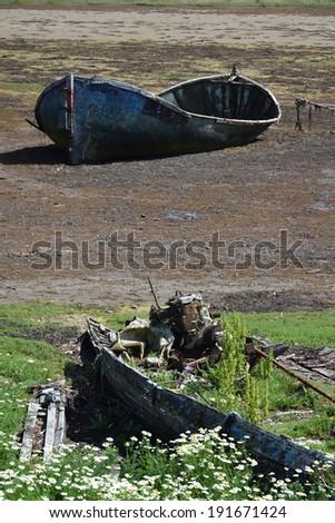 Wrecked boat in Fort William, Scotland, United Kingdom - stock photo