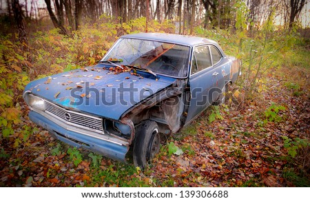 Wrecked Opel Record B 1900, model 1966 - stock photo