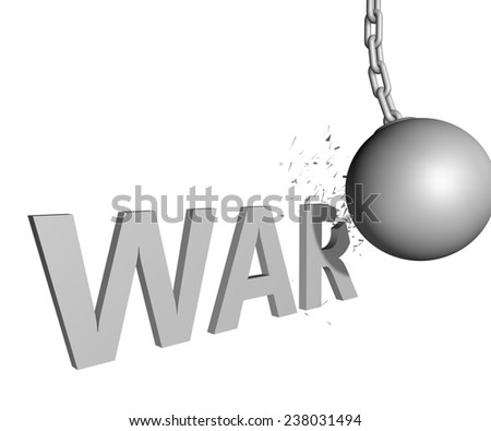 wrecking ball ending war issue - stock photo