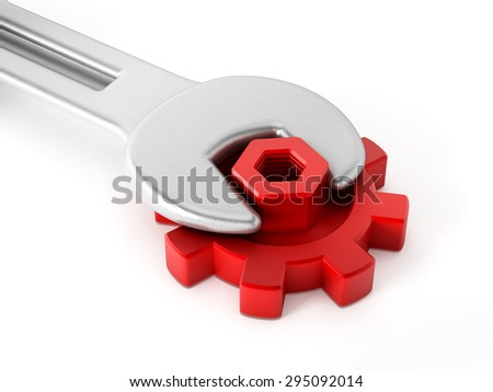 Wrench and bolt connected to red gear isolated on white background