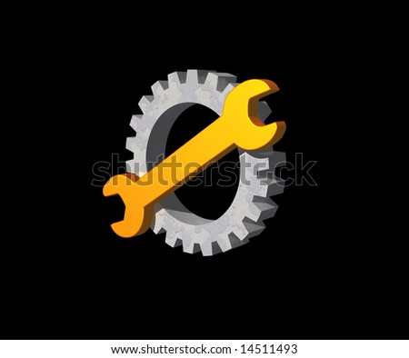 wrench and gear logo on black background - 3d illustration