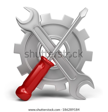 Wrench and screwdriver on a background of cogwheel. 3d image. White background.