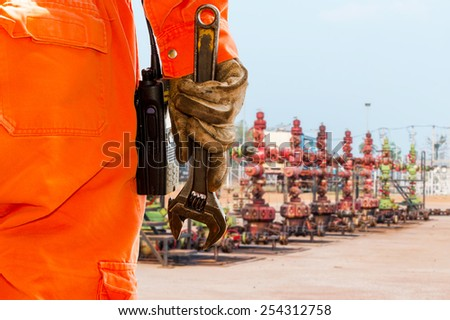 Wrench, Basic tool for fixing in well head crude oil site - stock photo