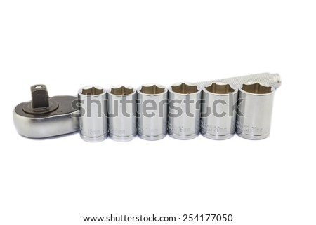 Wrench ratchet and socket size 15, 16, 17, 19, 20 and 21 mm  isolated on white background. - stock photo