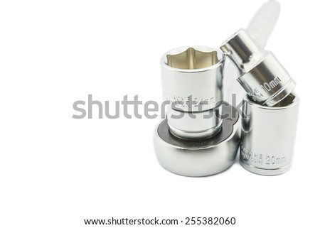 Wrench ratchet and socket size 24, 20 and 10 mm isolated on white background. - stock photo