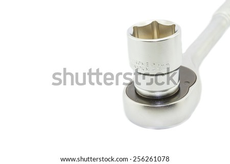 Wrench ratchet and socket size 24mm isolated on white background. - stock photo