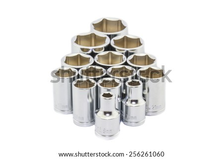 Wrench ratchet socket size 8, 10, 16, 17 and 21 mm isolated on white background. - stock photo