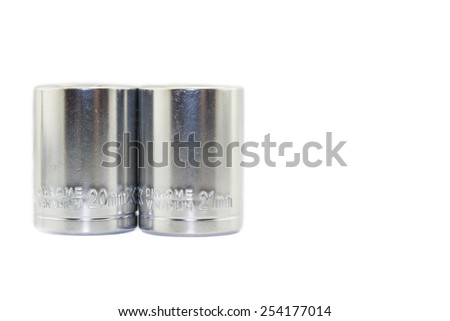 Wrench ratchet socket size 20mm and 21mm isolated on white background. - stock photo