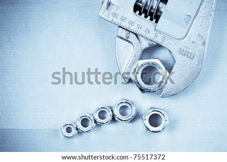 Wrench with Hex Bolt - stock photo
