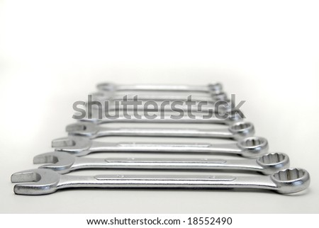 Wrenches isolated in white - stock photo