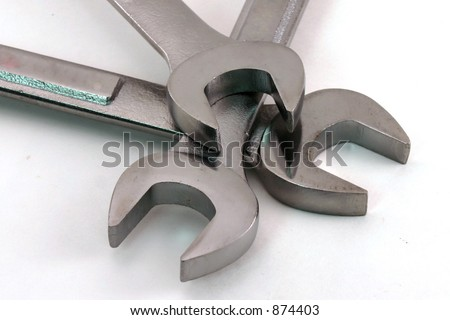 Wrenches stacked open end on open end - stock photo