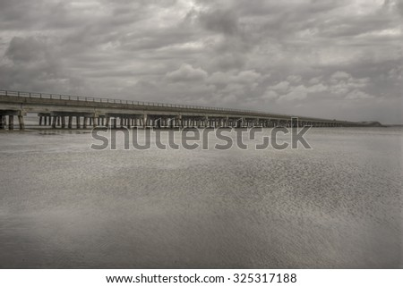 Wright Memorial Bridge a gateway to the barrier islands of the Outer Banks, North Carolina.  - stock photo