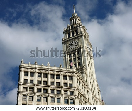 Wrigley Building in downtown Chicago, with art deco design - stock photo