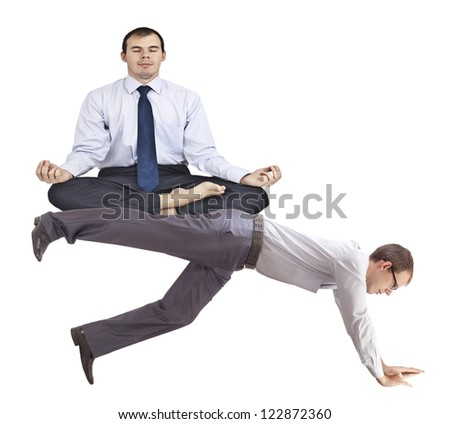 wring out businessman underpins meditator - the idea to exploit subordinate flunky manipulation, shifting and delegating duties to other colleagues, parasitism, stress - stock photo