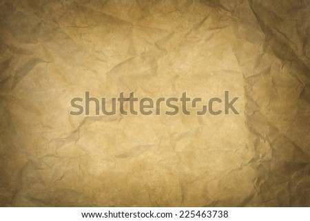 wrinkled and yellowish old paper texture or background