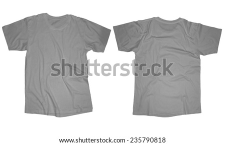 Wrinkled blank grey t-shirt template, front and back design isolated on white - stock photo