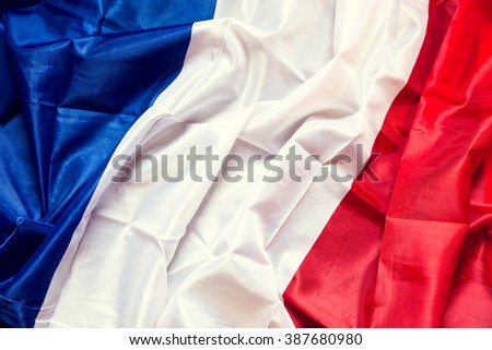 wrinkled france Flag with copyspace, concept European Country