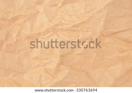 Wrinkled packaging paper background, close up, DOF - stock photo