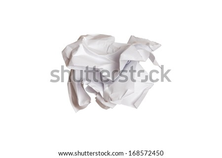 wrinkled paper isolated on white background - stock photo