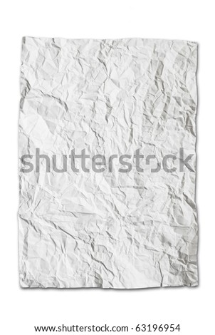 wrinkled paper texture isolated on white background - stock photo