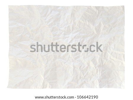 Wrinkled White paper isolated on white with clipping path - stock photo