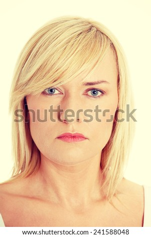 Wrinkled woman in her late 30's or 40's