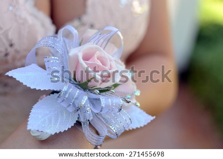 Wrist corsage with pink roses and silver ribbon and leaves, worn on wrist of beautiful girl - stock photo