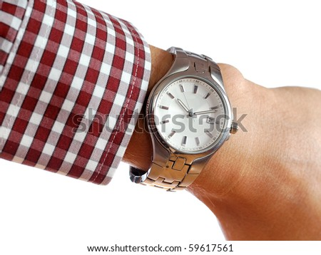 Wrist watch on hand isolated on white background - stock photo