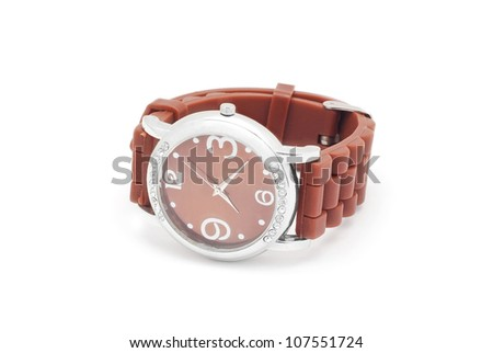 wrist watch on white background - stock photo