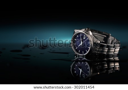 Wrist watch with water drops and a reflection on the ground, table top photography studio. - stock photo