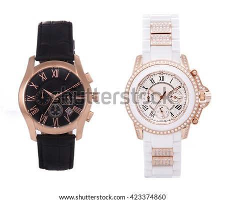 Wrist watches for men and women on a white background - stock photo