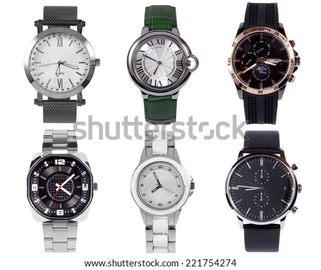 Wrist watches isolated on white background. - stock photo