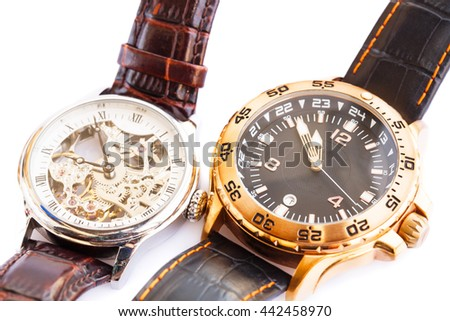 Wrist watches isolated on white background.