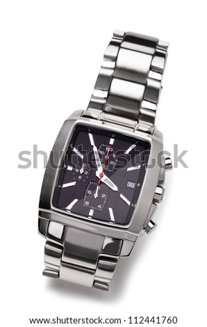 Wrist watchon a white background - stock photo