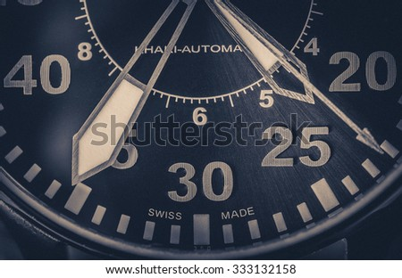 Wristwatch closeup in retro style - stock photo