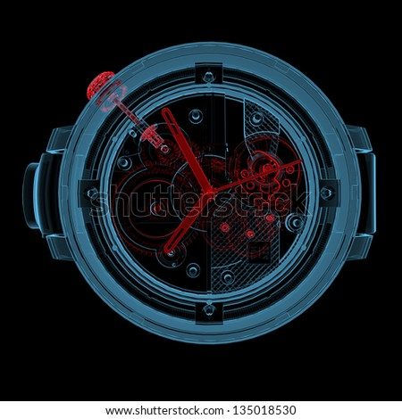 Wristwatch (3D xray red and blue transparent isolated on black background) - stock photo