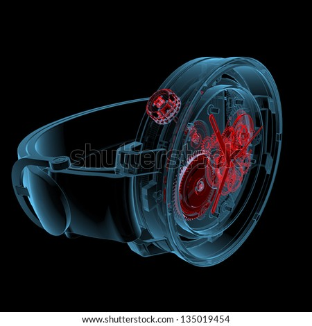 Wristwatch (3D xray red and blue transparent isolated on black background)