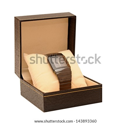 wristwatch in a black box - stock photo