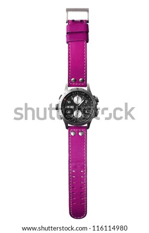 wristwatch isolated on white - stock photo