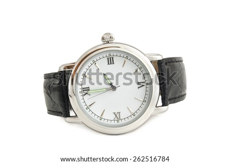 Wristwatch on white background - stock photo