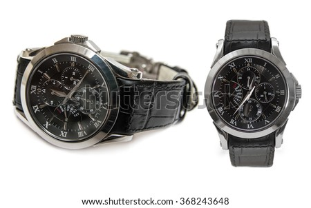 Wristwatch with black leather strap isolated on white background - stock photo