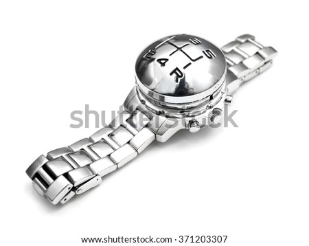 Wristwatch with gearshift speed marks instead of clock face on a white background.