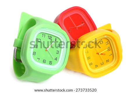 Wristwatches on white background