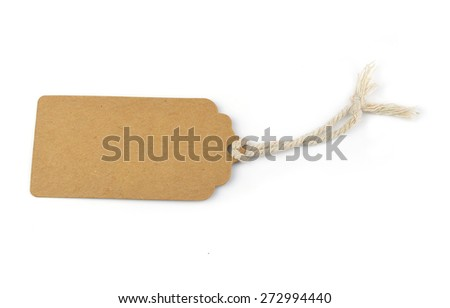 Write a paper label isolated on white background. - stock photo