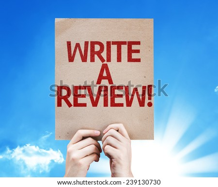 Write a Review card with beautiful day - stock photo