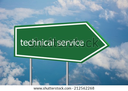 Write a technical service on the Road Sign  - stock photo