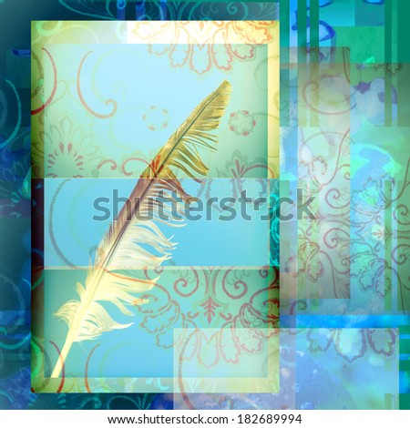 write ancient bird feather on blue background decorated - stock photo